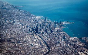 Picture the city, lake, Chicago, panorama, Aerial view of Chicago