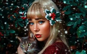 Picture cat, look, girl, makeup, Geo Leon