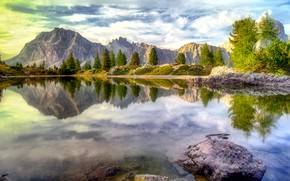 Picture forest, clouds, light, trees, mountains, reflection, stones, rocks, shore, tops, view, the bottom, ate, pond, …