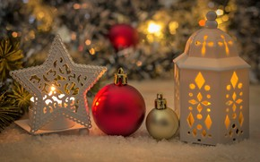 Picture background, holiday, Snow, Candle, Christmas, Lantern, Ball, Spruce, New year, decor