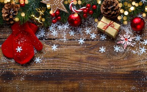 Picture snow, New Year, Christmas, gifts, Christmas, wood, snow, New Year, gift, decoration, Happy, Merry, fir …