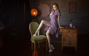Picture girl, dress, legs, brown hair, photo, photographer, blue eyes, model, chair, lips, table, high heels, …