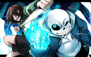 Picture the game, art, knife, two, Undertale, Undertail