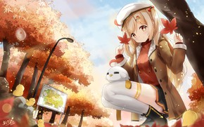 Picture autumn, leaves, Park, girl, bird