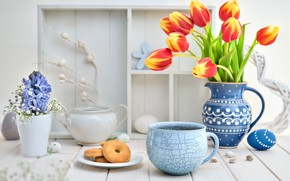 Picture flowers, coffee, cookies, vase, composition, Anya Ivanova