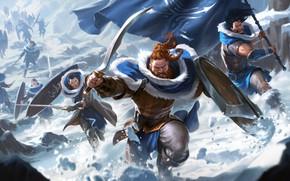Picture winter, weapons, warriors, run, Legends of Runeterra