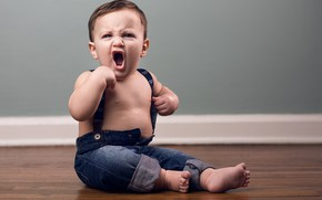 Picture jeans, boy, on the floor, child, toddler, braces, screamer