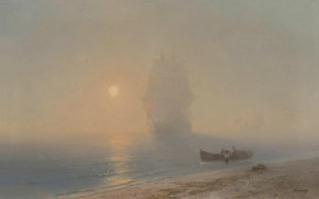 Picture ship, picture, sail, seascape, Ivan Aivazovsky, Sailing in the Mist