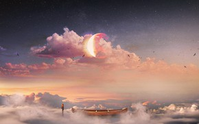Picture The sky, Clouds, Stars, The moon, People, Boat, Birds, Fantasy, Art, Concept Art, Hani Jamal, …