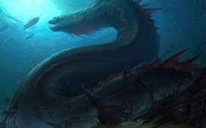 Picture dragon, ship, treasures, the bottom of the sea, Legends of Runeterra