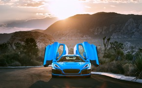 Picture sunset, supercar, front view, 2018, Rimac, electric car, C-Two, California Edition