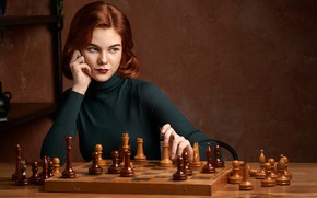 Picture look, girl, pose, chess, Горшенин Сергей, The Queens Gambit