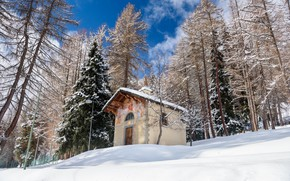 Picture winter, slope, Italy, chapel, Valle d'aosta