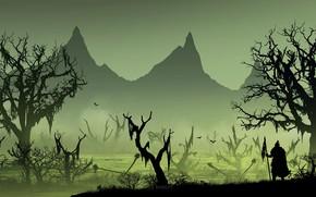 Wallpaper swamp, warrior, silhouette, derevya