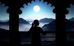 Picture moon, sunset, balcony, relaxed, afternoon