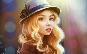 Wallpaper face, hat, coat, long hair, art, portrait of a girl, blur bokeh, Okio Chan