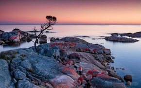 Picture sunrise, Australia, Tasmania, Binalong Bay, Tassie