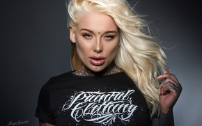 Picture look, girl, face, background, hair, hand, tattoo, t-shirt, blonde, Lauren Brock, Jack Russell