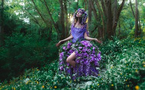 Picture forest, girl, flowers, style, dress, fantasy, image, nymph, photoart, Kindra Nikole