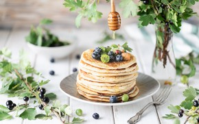 Picture berries, Breakfast, honey, pancakes, decor