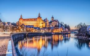 Picture bridge, river, castle, home, Germany, Bayern, night city, promenade, Germany, Bavaria, Danube River, Neuburg, Neuburg …