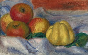 Picture food, picture, fruit, Pierre Auguste Renoir, Pierre Auguste Renoir, Still life with Apples and Quince