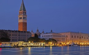 Picture lights, tower, home, Italy, Venice, channel