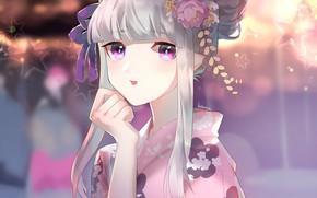 Picture girl, stars, yukata