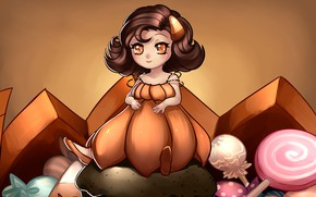 Picture girl, sweets, Halloween, pumpkin, Halloween