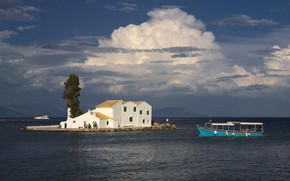 Picture sea, summer, the sky, clouds, house, people, tree, stay, blue, shore, boat, Villa, island, group, …