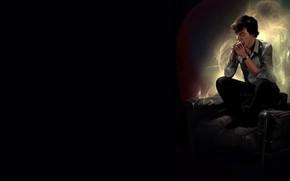 Picture light, chair, Sherlock Holmes, Benedict Cumberbatch, Benedict Cumberbatch, Sherlock, Sherlock BBC, Sherlock (TV series), by …