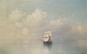 Picture ship, picture, sail, seascape, Ivan Aivazovsky, 1884, Calm Sea
