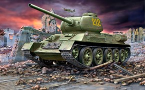 Picture the ruins, tank, Soviet, average, T-34-85, main, c gun caliber of 85 mm, Christie suspension, …