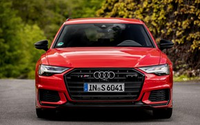 Picture red, Audi, front view, universal, 2019, A6 Avant, S6 Before