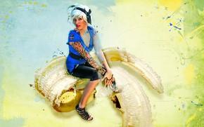 Picture girl, sitting, banana skorka