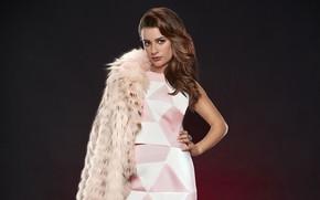 Picture look, girl, pose, photo, sweetheart, makeup, dress, coat, Lea Michele