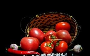 Picture pepper, black background, basket, vegetables, tomatoes, tomatoes