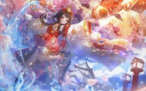 Picture fish, girl, Onmyouji, Omega