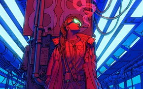 Picture Color, Girl, Figure, Future, Smoke, Station, Glasses, Metro, Art, 80s, Techno, Illustration, Retro, Characters, Cigarette, …