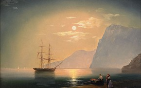 Picture sea, mountains, shore, boat, picture, Ivan Aivazovsky, 1868, Ship under the moonlight