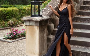 Picture girl, style, model, dress, ladder, lantern, Viki Odintcova, Victoria Odintsova, Sasha Cosmos