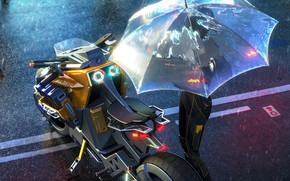 Picture rain, transport, umbrella, art, motorcycle, sci-fi