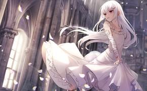 Picture girl, castle, white dress