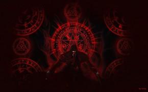 Picture anime, art, vampire, Hellsing, Alucard, Pentagram