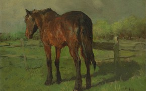 Picture oil, picture, Horse, canvas, 1888, Anton Mauve, Anton Mauve