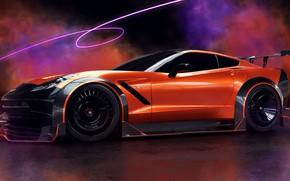 Picture Auto, Corvette, Machine, Orange, Rendering, Stingray, Corvette Stingray, Sports car, Transport & Vehicles, Chevrolet Corvette …