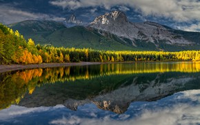 Picture autumn, forest, the sky, mountains, nature, lake, reflection, Canada, Perry Hoag