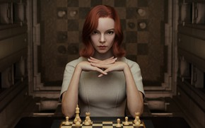 Picture redhead, artwork, Anya Taylor-Joy, 2021, The Queen's Gambit, Beth Harmon