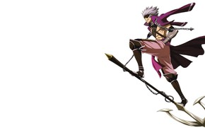 Picture smile, weapons, warrior, chain, white background, guy, Sengoku Basara, The Era Of Unrest