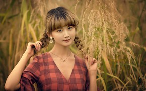 Picture grass, look, girl, decoration, nature, earrings, dress, pendant, braids, brown hair, Asian, chain